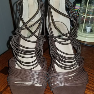 Mark by AVON Brown Strappy Wedges Size 7